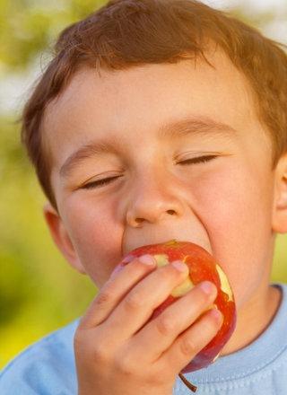 Junge beißt in Apfel.; Rechte: picture alliance